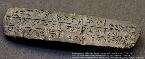 アーサー・エヴァンズによって発見された、線文字Bが刻まれた石版