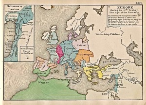 十字軍遠征による拡大地図「1142年のヨーロッパの状勢」