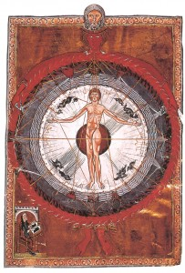 ヒルデガルト・フォン・ビンゲンの著書『Liber Divinorum Operum』(13世紀初頭)。