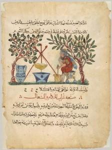 アラビア語訳『薬物誌』より、製薬の様子