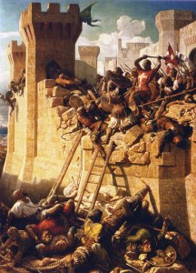 1291年、十字軍によるアッコン包囲戦を描いた油絵
