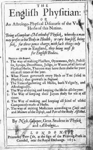 ニコラス・カルペパー『英語で書かれた療法 (English Physitian)』