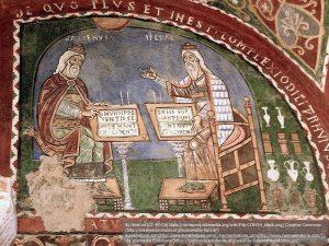 イタリア、アナーニに残るガレノスとヒポクラテスが描かれた壁画(12世紀)。