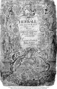 ジョン・ジェラード著『The Herbal』(1597)より扉ページ