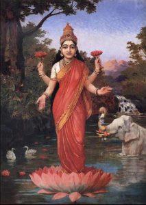 幸運の女神・ラクシュミー(1848~1906年頃の作品)