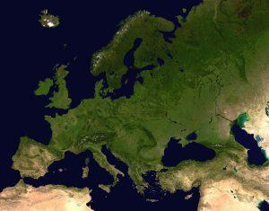 ヨーロッパ上空より、衛星写真