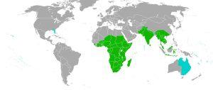 グロリオサ・スペルザの分布図:緑色=自然の分布(Kew's World Checklist of Selected Plant Families (2011)による )、水色=持ち込まれた地域(Pacific Island Ecosystems at Risk (PIER)による)