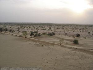 ラジャスターン州ジャイサルメール近くの砂漠