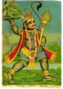 ラーマの弟のため、薬草のある山を届けるハヌマーン(1910年代の『the Ravi Varma Press』より)