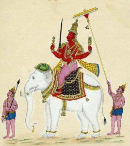インドラ神(帝釈天)(1820年頃の絵画)