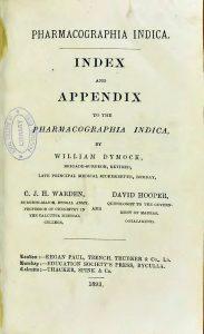 書籍『Pharmacographia Indica』タイトルページ(P.7)