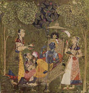 クリシュナ(中央の黒い身体)と女性たち