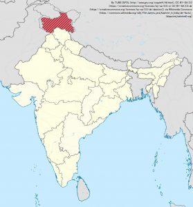 北インドのジャム・カシミール州(Jammu and Kashmir)(地図の赤色部分)