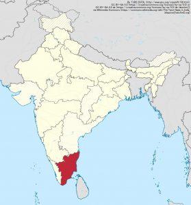 南インドのタミル・ナードゥ州(Tamil Nadu)(地図の赤色部分)