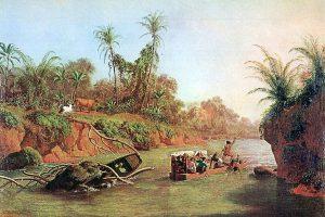 パナマ地峡を流れるチャグレス川(1850年の絵画)