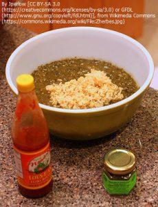 """""""ガンボ""""=サッサフラスの葉を砕いて作った料理(ルイジアナホットソースとフィレパウダーが使われている)"""