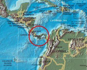 パナマ地峡の位置