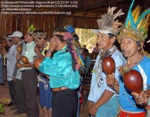 「グアラニ人、グレートピープル!」のキャンペーンに参加する先住民族の人々(2007年、カアラポ/ブラジル)