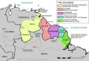 大西洋に面し、南のブラジル、東のベネズエラに接したギアナ地方