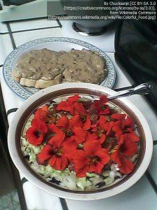 サラダに添えられたナスタチウムの花(手前)