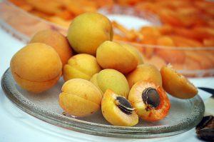アプリコットの果実と、その中の種