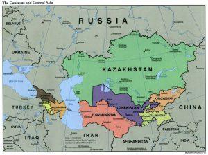 中央アジアとコーカサス / 中央アジア=カスピ海より東の色づけされた国(アフガニスタンが中央アジアに含まれていない区分となっている)/ コーカサス=カスピ海より西の色づけされた国
