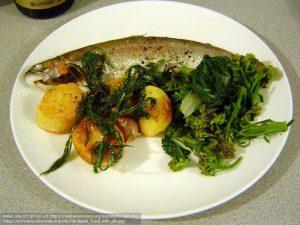 ディルを添えた、魚料理