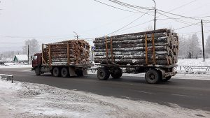 木材を積んだトラック(コリャジュマ / ロシア)